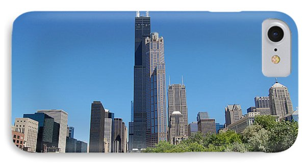Downtown Chicago Skyline - View Along The River Phone Case by Suzanne Gaff