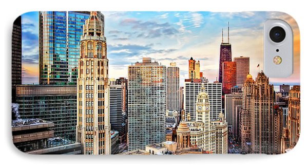 Downtown Chicago Sunset IPhone Case by Jennifer Rondinelli Reilly - Fine Art Photography