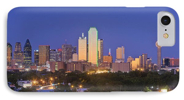 Downtown Dallas Skyline At Dusk Phone Case by Jeremy Woodhouse