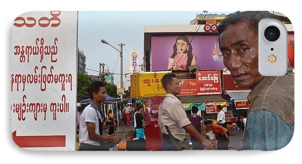 Downtown Rangoon Burma With Curious Man IPhone Case
