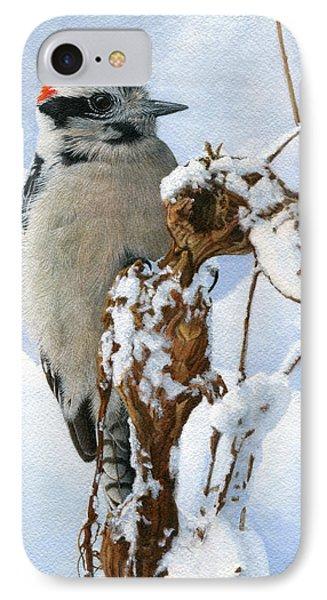 Downy Woodpecker  IPhone 7 Case by Ken Everett