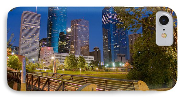 Dowtown Houston By Night Phone Case by Olivier Steiner