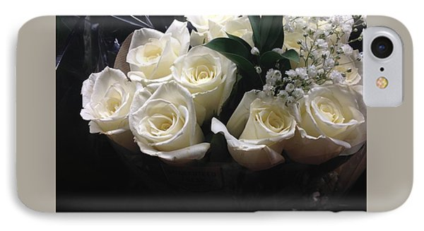 Dozen White Bridal Roses IPhone Case by Richard W Linford