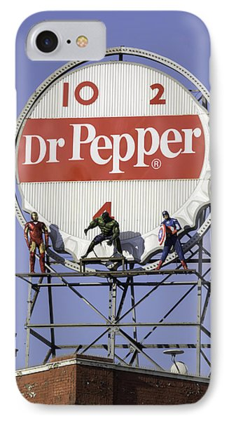 Dr Pepper And The Avengers IPhone Case by Teresa Mucha