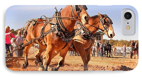 IPhone Case featuring the photograph Draft Horse Pulling Cedar City Livestock Festival 2015 by Deborah Moen