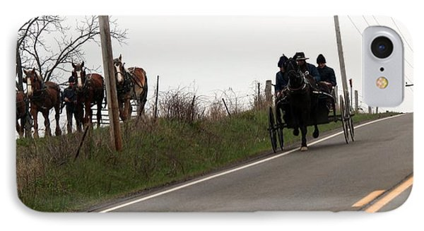 Draft Horses And Amish IPhone Case by R A W M