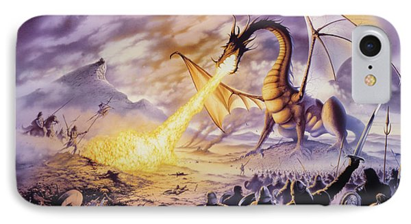 Dragon Battle IPhone Case by The Dragon Chronicles - Steve Re