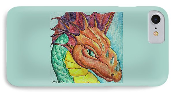 IPhone Case featuring the drawing Dragon Portrait by Yulia Kazansky