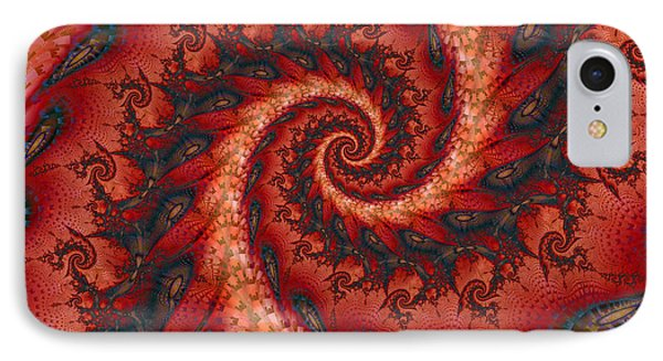 IPhone Case featuring the digital art Dragon Tail Spiral by Richard Ortolano