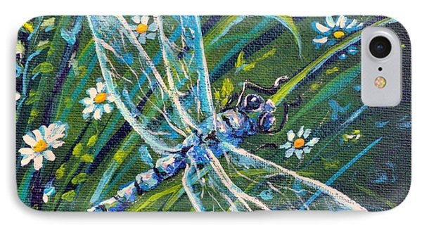 Dragonfly And Daisies IPhone Case by Gail Butler