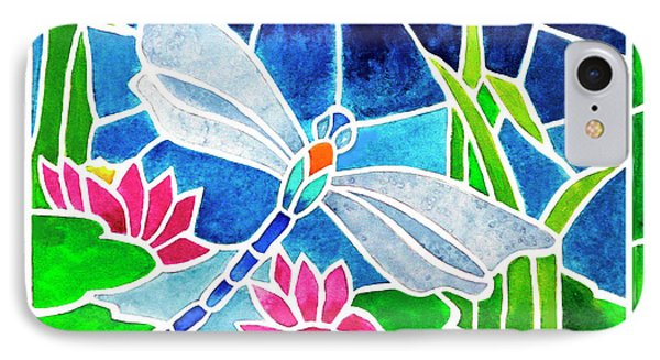 Dragonfly And Water Lilies In Stained Glass 2 Phone Case by Janis Grau