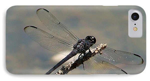Dragonfly Black Phone Case by Lisa Stanley