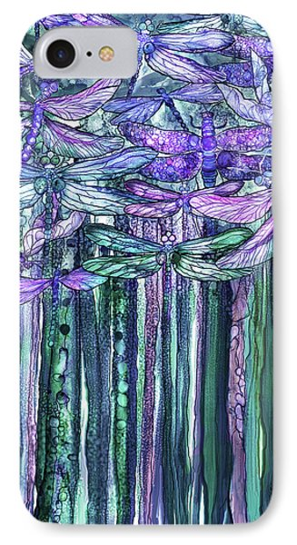 IPhone Case featuring the mixed media Dragonfly Bloomies 1 - Lavender Teal by Carol Cavalaris