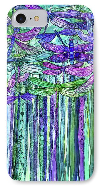 IPhone Case featuring the mixed media Dragonfly Bloomies 1 - Purple by Carol Cavalaris