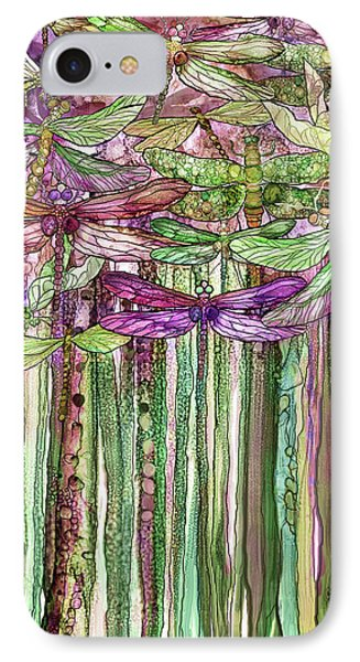 IPhone Case featuring the mixed media Dragonfly Bloomies 1 - Pink by Carol Cavalaris
