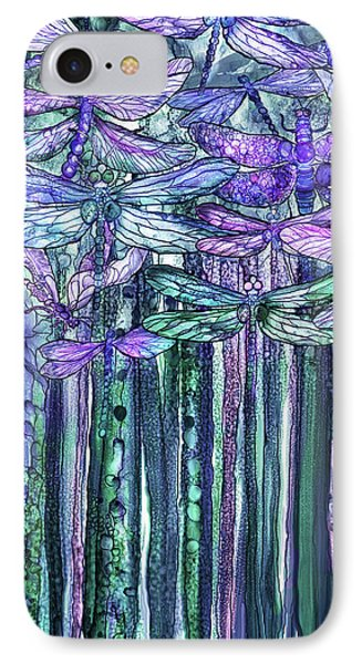 IPhone Case featuring the mixed media Dragonfly Bloomies 2 - Lavender Teal by Carol Cavalaris