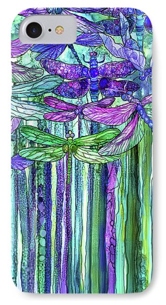IPhone Case featuring the mixed media Dragonfly Bloomies 2 - Purple by Carol Cavalaris