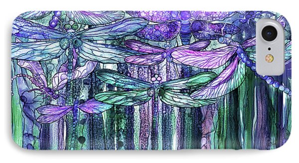 IPhone Case featuring the mixed media Dragonfly Bloomies 3 - Lavender Teal by Carol Cavalaris