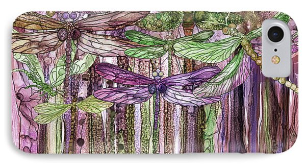 IPhone Case featuring the mixed media Dragonfly Bloomies 3 - Pink by Carol Cavalaris