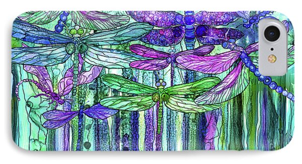 IPhone Case featuring the mixed media Dragonfly Bloomies 3 - Purple by Carol Cavalaris