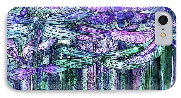IPhone Case featuring the mixed media Dragonfly Bloomies 4 - Lavender Teal by Carol Cavalaris
