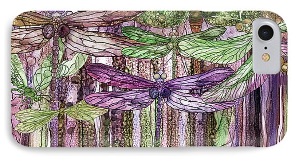 IPhone Case featuring the mixed media Dragonfly Bloomies 4 - Pink by Carol Cavalaris