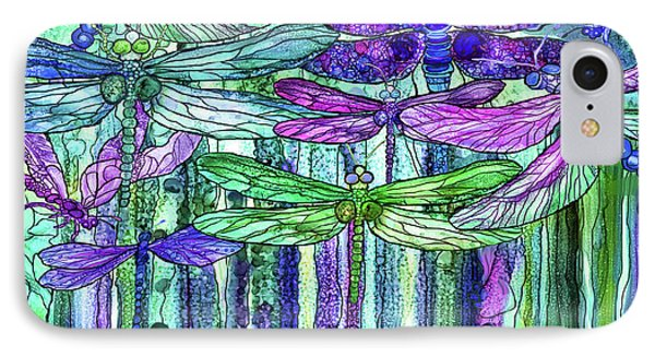 IPhone Case featuring the mixed media Dragonfly Bloomies 4 - Purple by Carol Cavalaris