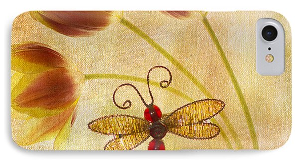 Dragonfly Tulips Phone Case by Rebecca Cozart