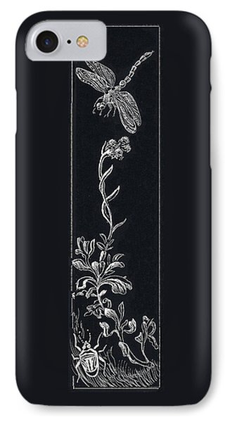 IPhone Case featuring the drawing Dragonfly With Catspaw And Bug by Dawn Senior-Trask