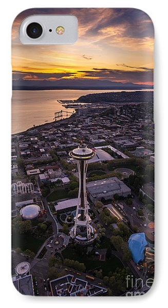 Dramatic Aerial Sunset Space Needle View IPhone Case by Mike Reid