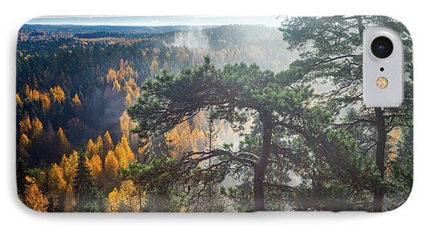 Dramatic Autumn Forest With Trees On Foreground IPhone Case