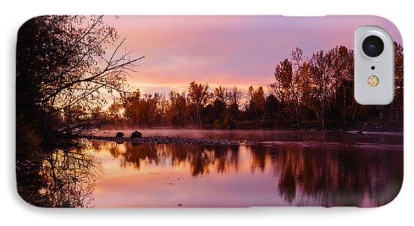 Dramatic Autumn Sunrise Along Boise River Boise Idaho IPhone Case