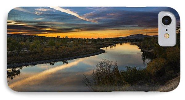 Dramatic Sunset Over Boise River Boise Idaho IPhone Case by Vishwanath Bhat