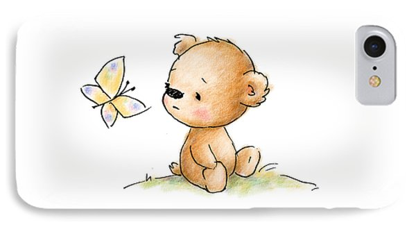 Drawing Of Cute Teddy Bear With Butterfly IPhone Case by Anna Abramska