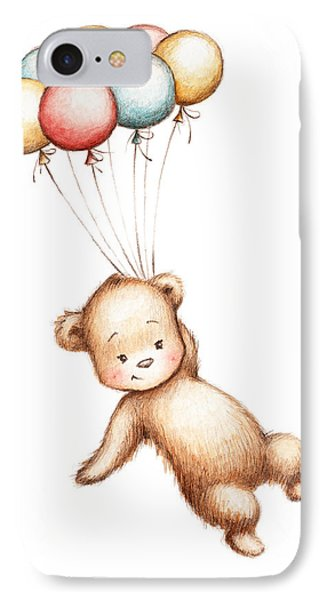 Drawing Of Teddy Bear Flying With Balloons IPhone Case by Anna Abramska