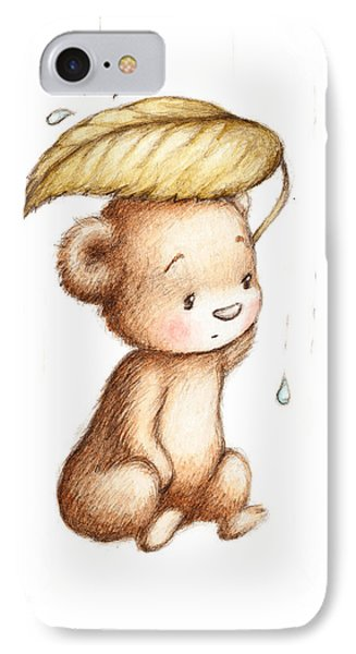 Drawing Of Teddy Bear Hiding From The Rain Under A Big Green Lea IPhone Case by Anna Abramska
