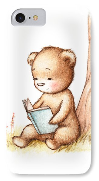 Drawing Of Teddy Bear Reading A Book Under Tree IPhone Case by Anna Abramska