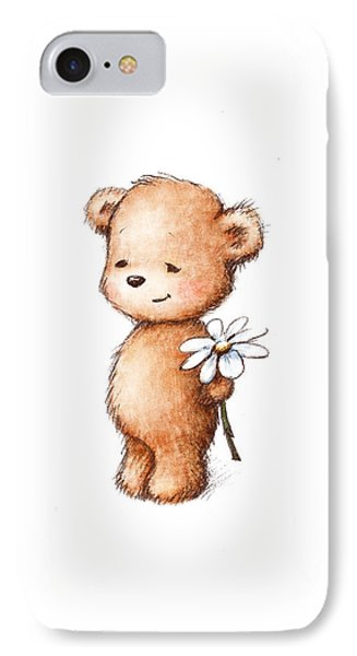 Drawing Of Teddy Bear With Daisy IPhone Case by Anna Abramska
