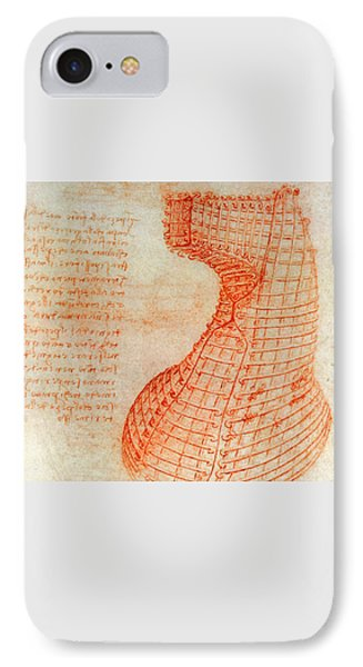 Drawing Of The Ironwork Casting Mould For The Head Of The Sforza Horse IPhone Case by Leonardo Da Vinci