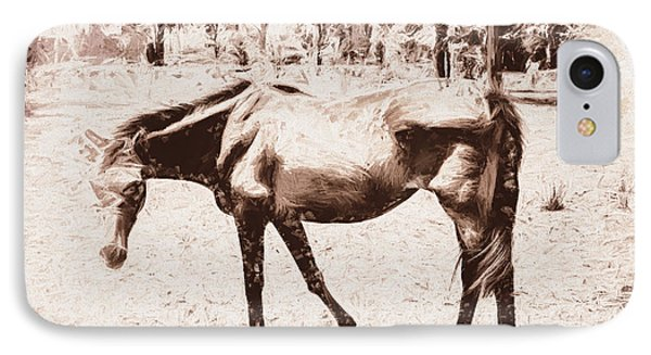 Drawn Ranch Horse IPhone Case by Jorgo Photography - Wall Art Gallery