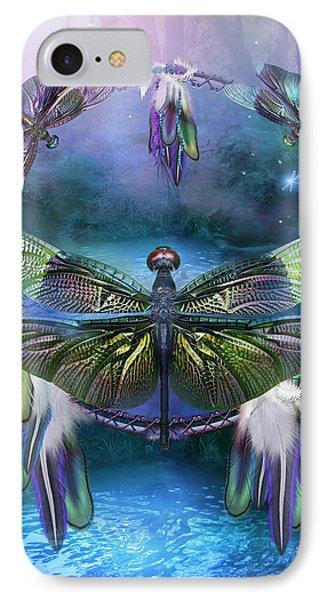 Dream Catcher - Spirit Of The Dragonfly Phone Case by Carol Cavalaris