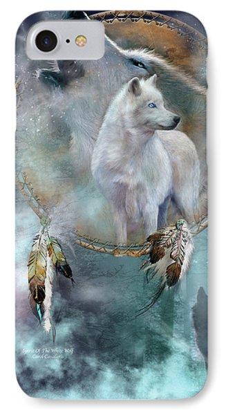 Dream Catcher - Spirit Of The White Wolf IPhone 7 Case by Carol Cavalaris