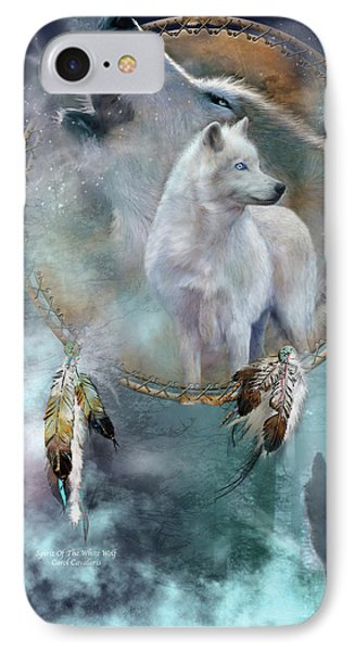 Dream Catcher - Spirit Of The White Wolf IPhone Case by Carol Cavalaris