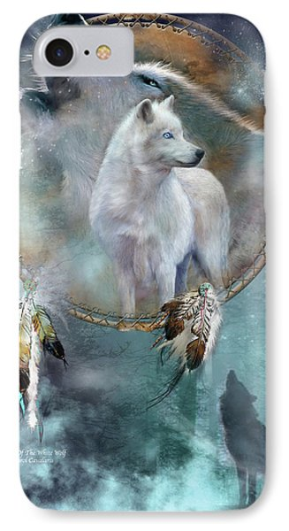 Dream Catcher - Spirit Of The White Wolf IPhone 7 Case by Carol Cavalaris