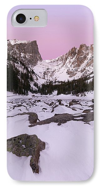 IPhone 7 Case featuring the photograph Dream Lake Winter Vertical by Aaron Spong
