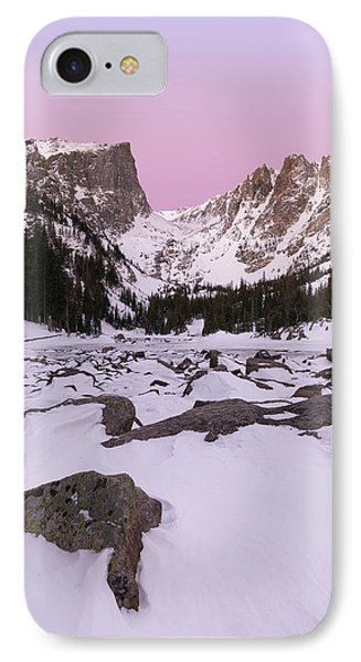 IPhone Case featuring the photograph Dream Lake Winter Vertical by Aaron Spong
