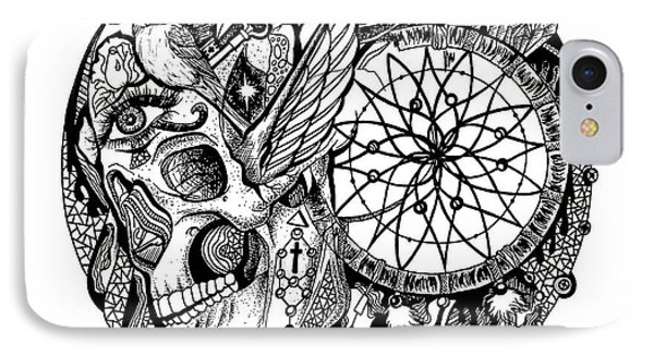 Dreamcatcher Circle Drawing No. 1 IPhone Case by Kenal Louis