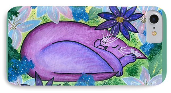 Dreaming Sleeping Purple Cat IPhone Case by Carrie Hawks