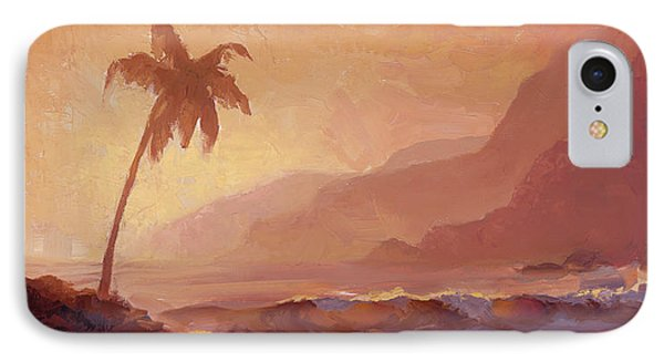 IPhone Case featuring the painting Dreams Of Hawaii - Tropical Beach Sunset Paradise Landscape Painting by Karen Whitworth