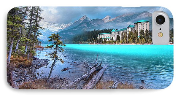 Dreamy Chateau Lake Louise IPhone Case by John Poon